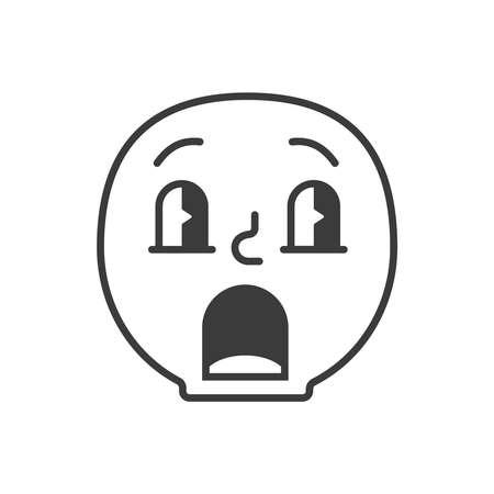 Emoji face afraid confused trendy flat line smile black and white. Vector illustration Illustration