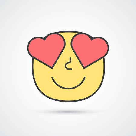 Love smile emoji with big eyes. Cute face. Vector eps10 Ilustração