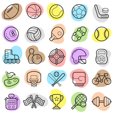 Sports new trendy icon set with colorful shapes. Vector elements Ilustracja