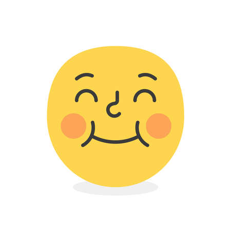Cute face colorful yellow happy embarased smile. Vector element