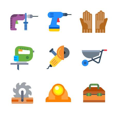 Build tools and instruments modern color icon pack set 3. Vector eps 10 elements Ilustração