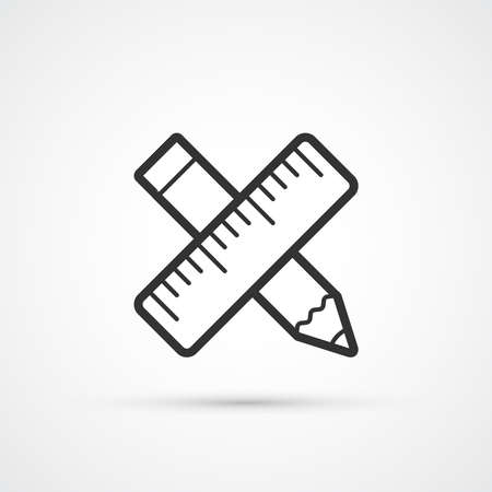 Pencil and ruler trendy icon. Vector illustration Ilustração