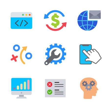 Seo and marketing modern color icon pack set 1. Vector eps 10 elements