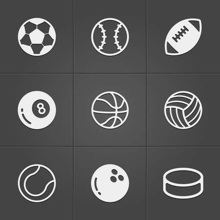Trendy sport  balls icons on black. Vector illustration