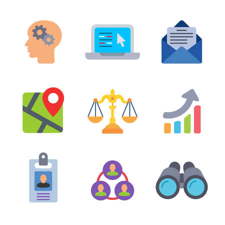 Business modern color icon pack set 1. Vector eps 10 elements