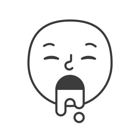 Emoji face sick illness trendy flat line smile black and white. Vector illustration