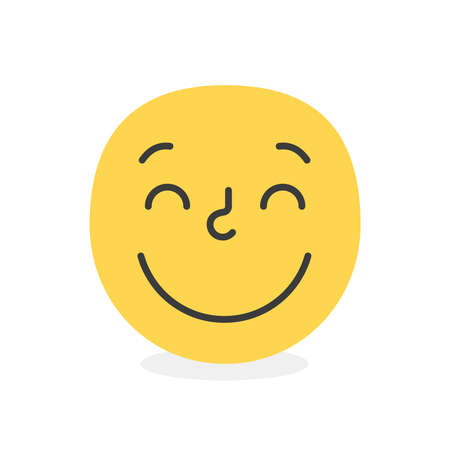 Cute face colorful yellow good happy smile. Vector element