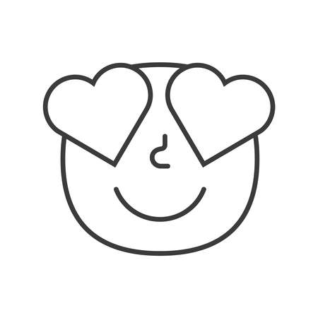 Emoji face love happy trendy flat line smile black and white. Vector illustration