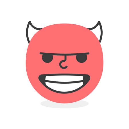 Cute face colorful red bad evil smile. Vector element Illustration