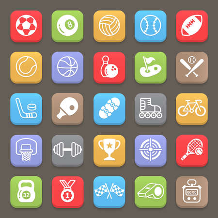 Sport icons for mobile or web. Vector illustration