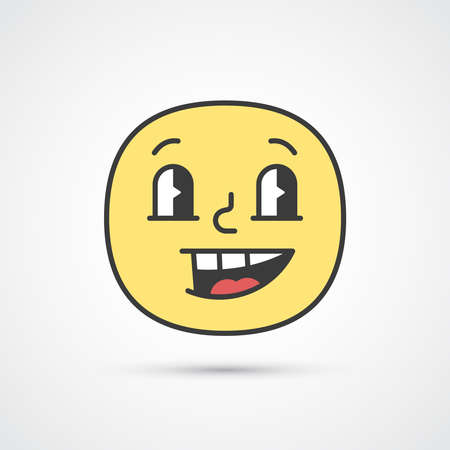 Sly smile emoji with big eyes. Cute face. Vector eps10