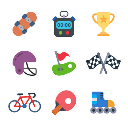 Sport and games modern color icon pack set 3. Vector eps 10 elements