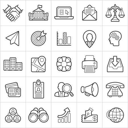 Business trendy style icons on white background. Vector elements 向量圖像