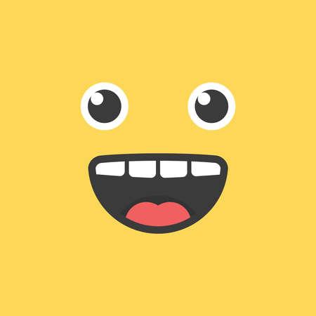 Funny cute smile face. Vector happy emoji . Eps10