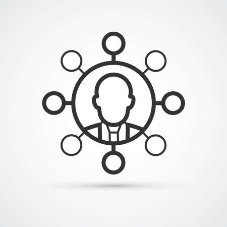 People network connection trendy style black icon. Vector illustration