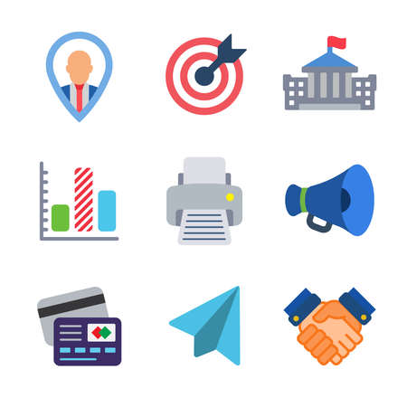 Business modern color icon pack set 3. Vector eps 10 elements
