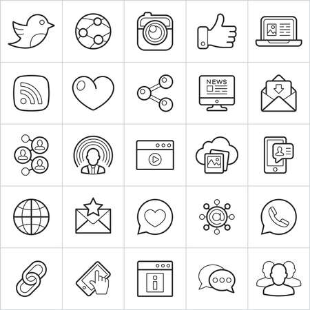 Social trendy style icons on white background. Vector elements