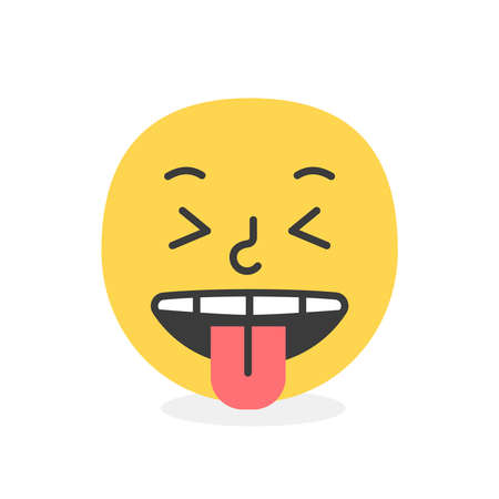 Cute face colorful yellow tongue teaser smile. Vector element