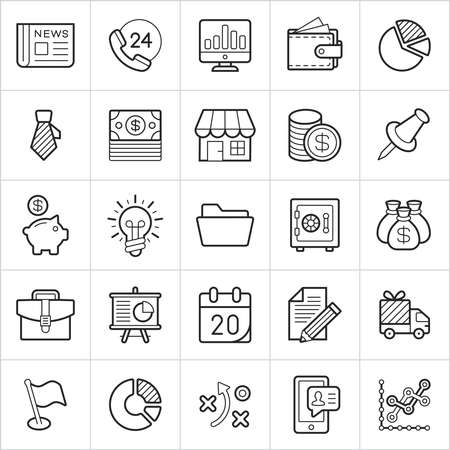 Commerce trendy style icons on white background. Vector elements