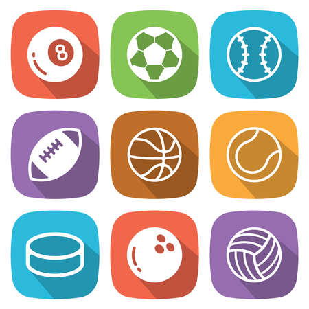 Sport balls flat icon with shadow.  Vector illustration Ilustracja