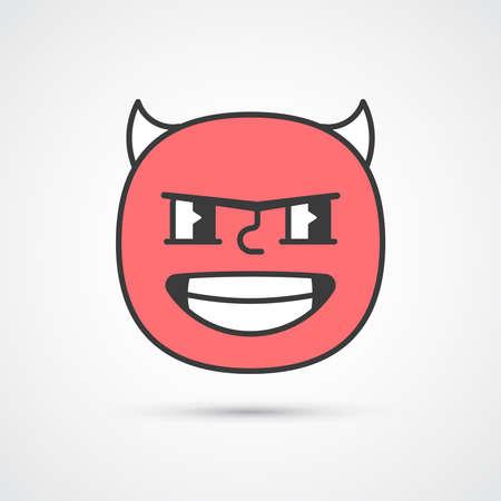 Evil smile emoji with big eyes. Cute face. Vector eps10