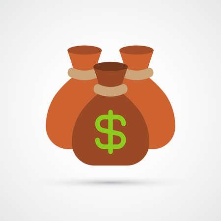 Money bags trendy color finance money icon. Vector eps 10