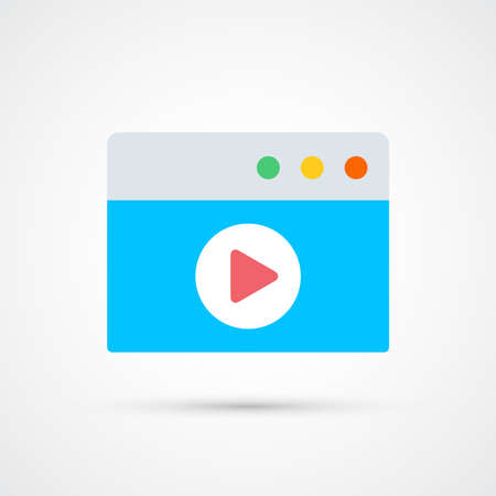 Video window player icon trendy color social. Vector eps 10