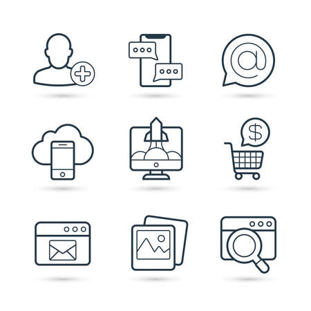Seo and internet marketing trendy icon set. Vector eps 10