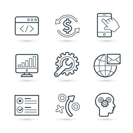 Seo statistic and internet marketing trendy icon set. Vector eps 10