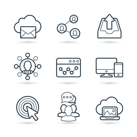 Seo business and internet marketing trendy icon set. Vector eps 10