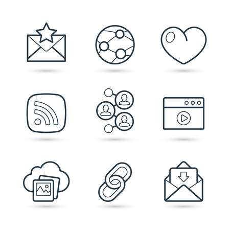 Trendy Collection of icons representing social media, connection, communication. Vector eps 10