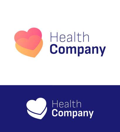 Two heart health or love company logo. Vector illustration eps 10