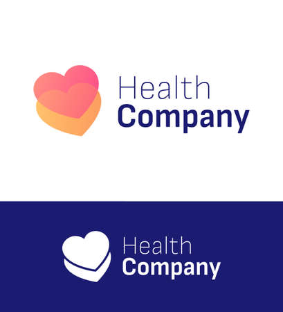 Two heart health or love company logo. Vector illustration eps 10