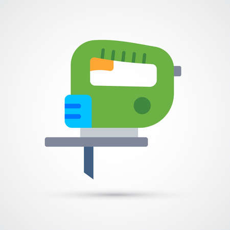 Electric jigsaw trendy color building tools icon. Vector eps 10