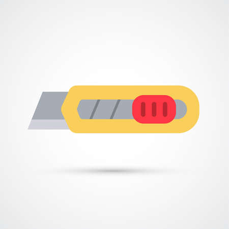 Office utility knife trendy color building tools icon. Vector eps 10 Ilustracja