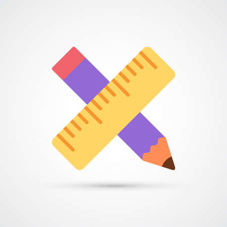 Pencil and ruller trendy color building tools icon. Vector eps 10 Illustration