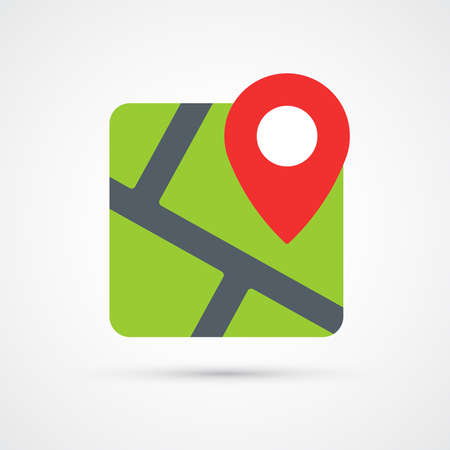 Map with pin trendy color icon. Vector eps 10