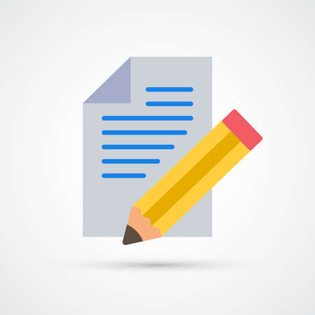 Sheet and pencil writing trendy color finance money icon. Vector eps 10 Illustration