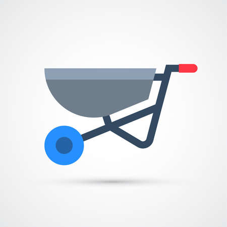 Wheelbarrow trendy color building tools icon. Vector eps 10