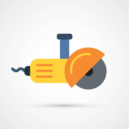 Angle grinder trendy color building tools icon. Vector eps 10 Illustration