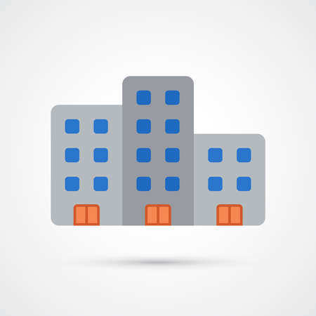 Office building trendy color icon. Vector eps 10