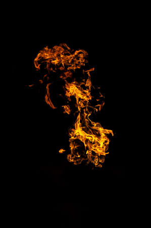 Bright flames isolated on a black background
