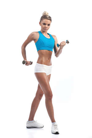 athletic young woman with dumbbells