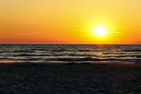 Sunset on the Baltic sea. Peace and self-isolation in nature