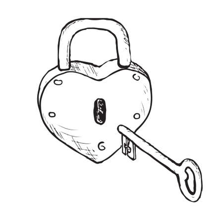 Heart Lock  Hand Drawn  Vector