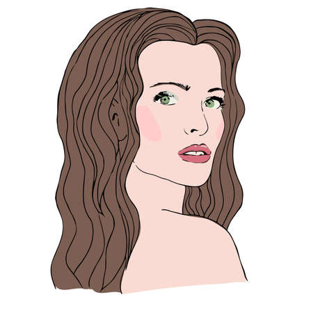 pelo ondulado: Moda joven y bella mujer con el pelo largo y ondulado Vectores