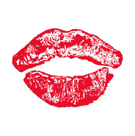 Big red lips kiss on white background