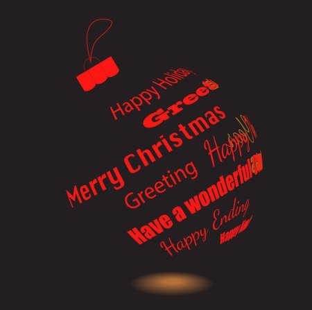 phrases: Una bola de Navidad Negro de frases felicitaci�n hecha
