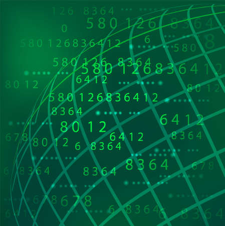 number tech  green background Vector