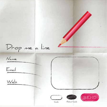 Creative sketch web form on creared paper Illustration